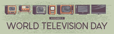 World television day. Holiday poster, banner, greeting card. A collection of vintage and modern TVs. Vector illustration, set of icons with hand drawn vector texture.