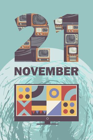 World television day. November 21. Vector illustration, poster, greeting card, banner in retro style. Modern TV on a background of the Earth 向量圖像
