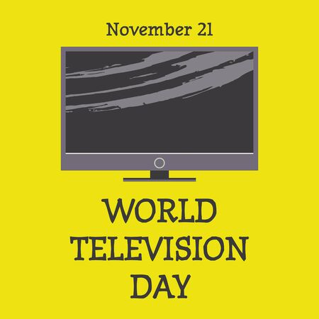 World television day. November 21. Vector illustration, poster, greeting card, banner in retro style. modern TV.