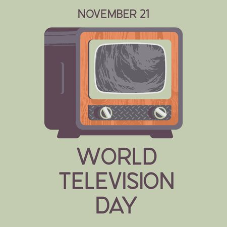 World television day. November 21. Vector illustration, poster, greeting card, banner in retro style. Vintage