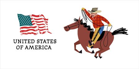 Cowboy on horseback. American flag. Vector illustration on white background. Illustration with unique hand drawn vector textures.