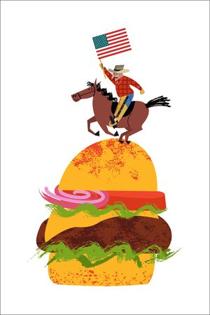 Cowboy riding a horse with an American flag in his hand. Big hamburger. Vector illustration on white background. Illustration with unique hand drawn vector textures.