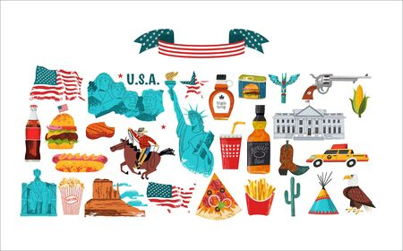 USA. Advertising poster, postcard. Great collection of items, attractions, traditions, Souvenirs and food of America. Vector illustration on white background with hand drawn vector textures. Çizim