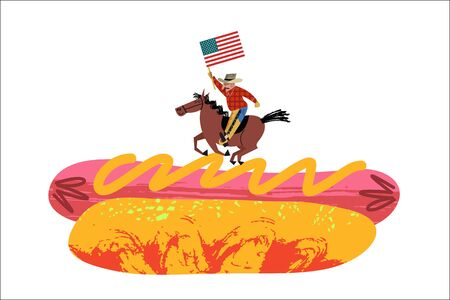 Cowboy riding a horse with an American flag in his hand. Big hot dog. Vector illustration with unique hand drawn textures on white background. 向量圖像