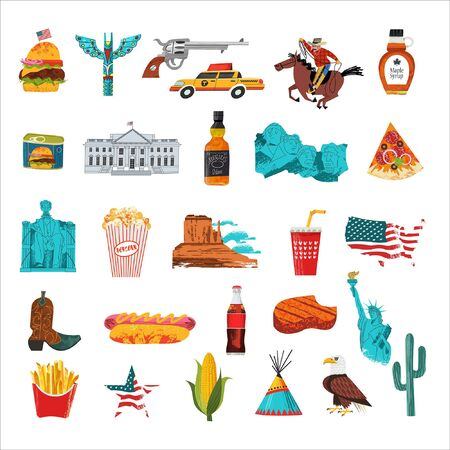 USA. Advertising poster, postcard. Great collection of items, attractions, traditions, Souvenirs and food of America. Vector illustration on white background with hand drawn vector textures. Illustration