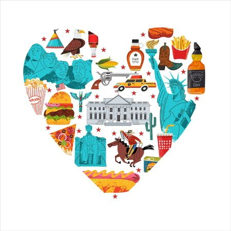 USA. Advertising poster, postcard. Great collection of items, attractions, traditions, Souvenirs and food of America. Vector illustration on a white background in the shape of a heart with hand drawn vector textures.