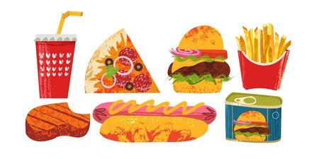 Collection of fast food. Vector illustration on white background. Pizza, hamburger, hot dog, steak, Cola, French fries and ham. American food. With unique hand drawn vector textures.