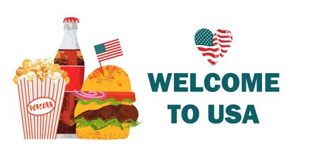 Welcome to the United States. Vector illustration, poster with Cola, popcorn and hamburger. On white background with hand drawn textures.