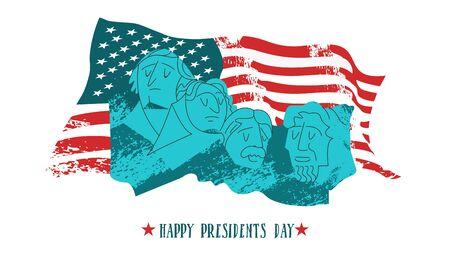 Feliz dia de los presidentes. Ilustración de vector, tarjeta de felicitación. Monumento en el monte Rushmore en los Estados Unidos que contiene retratos escultóricos de cuatro presidentes estadounidenses: George Washington, Thomas Jefferson, Theodore Roosevelt y Abraham Lincoln. En el fondo de la bandera estadounidense. Ilustración de vector