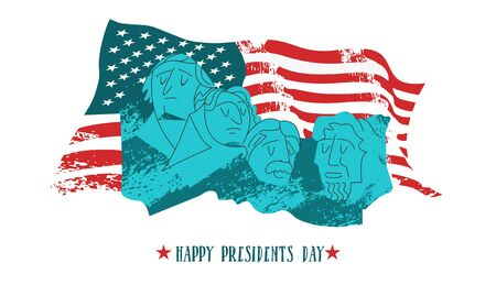 Happy presidents day. Vector illustration, greeting card. Monument on mount Rushmore in the United States containing sculptural portraits of four U.S. presidents: George Washington, Thomas Jefferson, Theodore Roosevelt and Abraham Lincoln. On the background of the American flag.