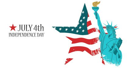 July 4 independence Day. Vector poster, greeting card. Statue of liberty with a torch in his hand on the background of the American flag in the shape of a star. On white background. Illustration with vector hand drawn textures.