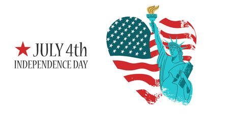 July 4 independence Day. Vector poster, greeting card. Statue of liberty with a torch in his hand on the background of the American flag in the shape of a heart. On white background. Illustration with vector hand drawn textures. Ilustração