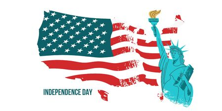 July 4 independence Day. Vector poster, greeting card. Statue of liberty with a torch in his hand on the background of the American flag. Illustration with hand drawn vector textures. 向量圖像