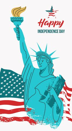 Independence day. The 4th of July. Vector poster, greeting card. Statue of liberty with a torch in his hand on the background of the American flag. Illustration with hand drawn vector textures. 向量圖像