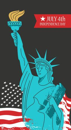 Independence day. The 4th of July. Vector poster, greeting card on black background. Statue of liberty with a torch in his hand on the background of the American flag. Illustration with hand drawn vector textures. 向量圖像