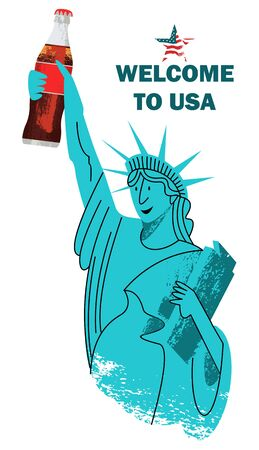 Welcome to the United States. Vector illustration on white background. In flat style. A cheerful statue of liberty holds a Cola in her hand.
