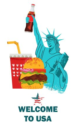 Welcome to the United States. Vector illustration, advertising poster on white background. A cheerful statue of liberty holds a Cola in her hand. A large hamburger and a plastic drink glass. American traditions and attractions.