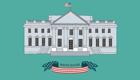 The building of the White house in Washington, DC. Residence of the President of the United States. In a flat linear style.