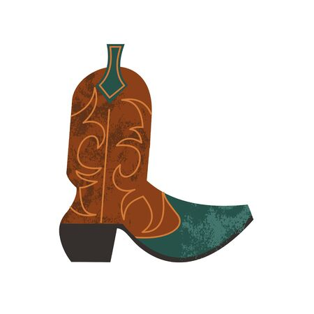 Cowboy boot. Traditional shoes of wild West cowboys in America. Vector illustration on white background. Illustration with vector hand drawn textures. 向量圖像