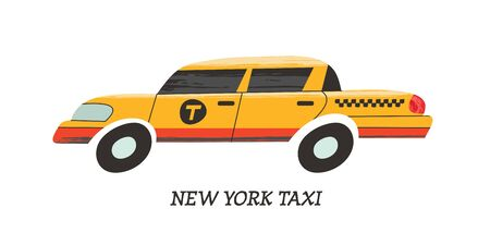 New York yellow cab. Vector illustration on white background in cartoon style.