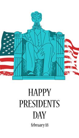 Statue Of Abraham Lincoln. Lincoln memorial in Washington, DC. Vector illustration, poster. On the background of the American flag.