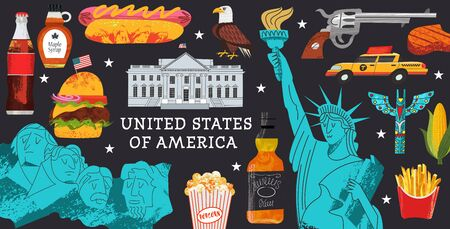 USA. Advertising poster, postcard. Great collection of items, attractions, traditions, Souvenirs and food of America. Vector illustration on black background with hand drawn vector textures.