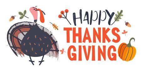 Thanksgiving holiday card. A congratulatory banner. Turkey, autumn leaves, orange pumpkins, berries and acorns. Vector illustration. 向量圖像