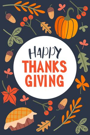 Thanksgiving holiday card. A congratulatory banner. Autumn leaves, orange pumpkins, birthday cake, berries and acorns. Vector illustration.