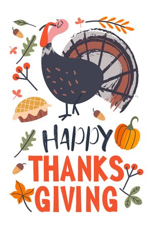 Thanksgiving holiday card. A congratulatory banner. Turkey, autumn leaves, orange pumpkins, birthday cake, berries and acorns. Vector illustration.