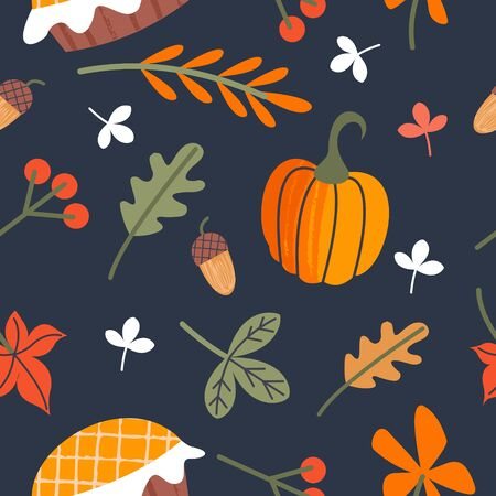 Seamless pattern for day of thanksgiving. A congratulatory banner. Autumn leaves, orange pumpkins, birthday cake, berries and acorns. Vector illustration.