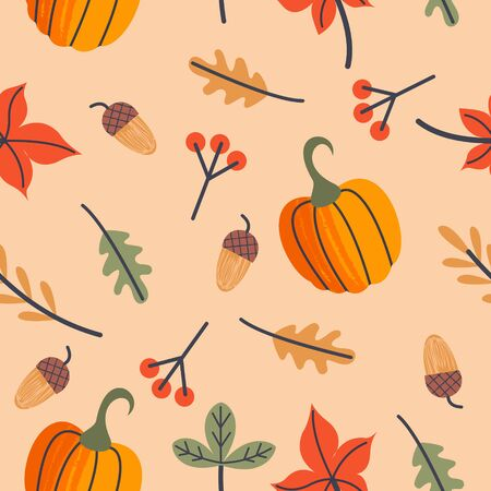 Seamless pattern for day of thanksgiving. A congratulatory banner. Autumn leaves, orange pumpkins, berries and acorns. Vector illustration.