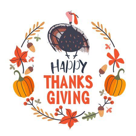 Thanksgiving holiday frame. Greeting card. Turkey, autumn leaves, orange pumpkins, berries and acorns. Vector illustration.
