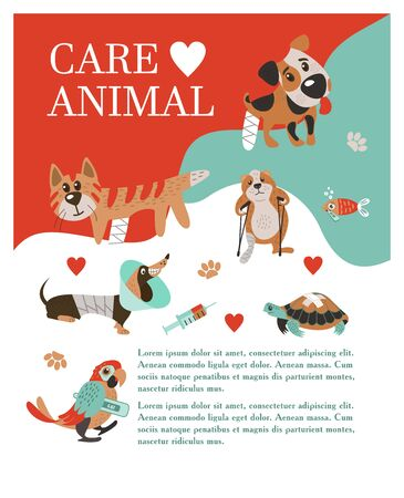 Veterinary care. Care of animals. Banner with space for text for veterinary clinic. A set of cute sick animals. Ilustracja
