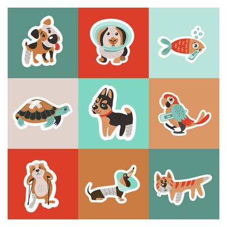 Veterinary care. Care of animals.  A set of cute sick animals. Ilustracja
