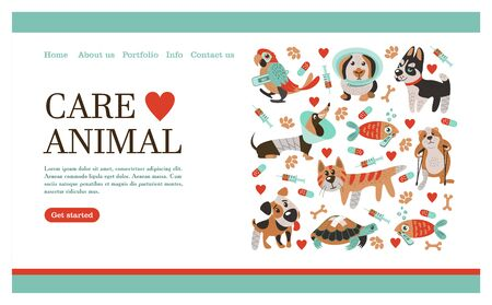 Veterinary care. Care of animals. Banner with space for text for veterinary clinic. A set of cute sick animals. Illusztráció