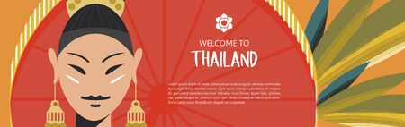 Welcome to Thailand. Travel Agency advertising flyer template. Beautiful Thai girl with red umbrella on exotic leaves background.