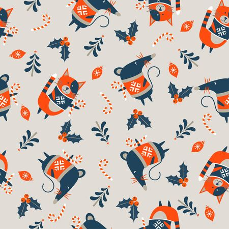 Seamless Christmas winter pattern on light background. Cute mice and cats dressed in a warm sweater. Vector illustration for seamless printing on textiles, paper.