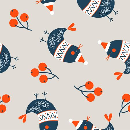 Seamless Christmas winter pattern on light background. Cute birds dressed in a warm sweater. Vector illustration for seamless printing on textiles, paper.