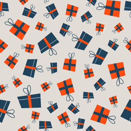 Seamless Christmas winter pattern on light background. Orange and blue gift boxes.  Vector illustration for seamless printing on textiles, paper.  イラスト・ベクター素材