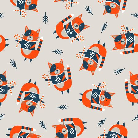 Seamless Christmas winter pattern on light background. Cute orange cats dressed in knitted warm sweaters. Vector illustration for seamless printing on textiles, paper.  イラスト・ベクター素材