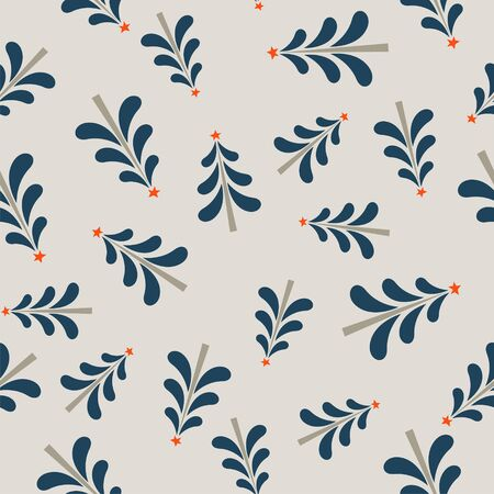 Seamless Christmas winter pattern on light background. Little Christmas trees. Vector illustration for seamless printing on textiles, paper.  イラスト・ベクター素材