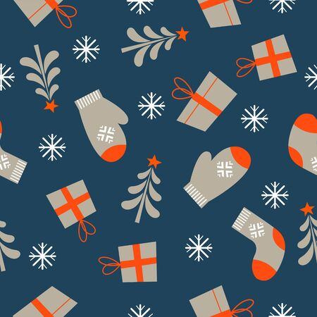 Seamless Christmas winter pattern on blue background. Warm knitted mittens, socks and gift boxes. Vector illustration for seamless printing on textiles, paper.