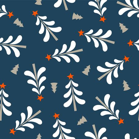 Seamless Christmas winter pattern on blue background. White Christmas trees with a star. Vector illustration for seamless printing on textiles, paper.