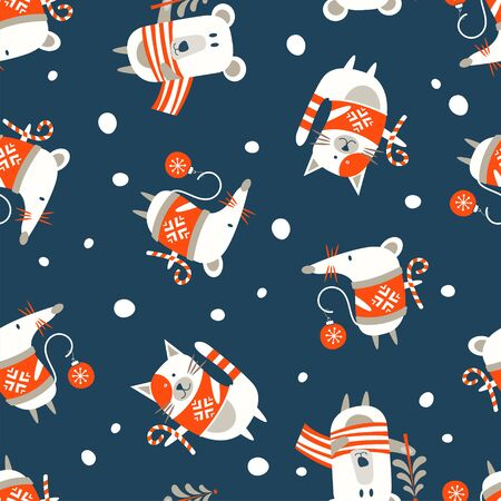 Seamless Christmas winter pattern on blue background. Cute little animals. Bear, cat and mouse, symbol of 2020. Vector illustration for seamless printing on textiles, paper.