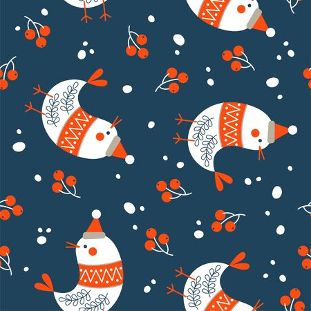Seamless Christmas winter pattern on blue background. Cute birds dressed in a warm sweater and a hat. Vector illustration for seamless printing on textiles, paper.  イラスト・ベクター素材