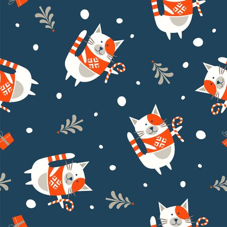 Seamless Christmas winter pattern on blue background. Cute cat dressed in a warm knitted sweater. Vector illustration for seamless printing on textiles, paper. 写真素材 - 134705244