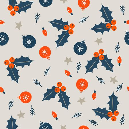 Seamless Christmas winter pattern on light background. Orange and blue Christmas balls and Holly berries. Vector illustration for seamless printing on textiles, paper.