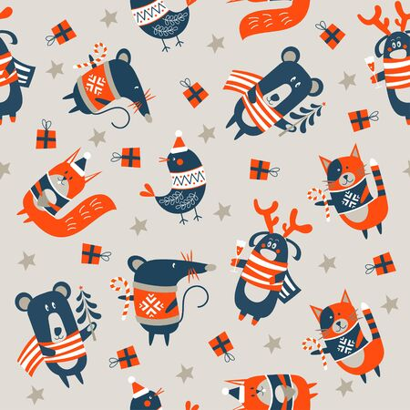 Seamless Christmas winter pattern on light background. Cute little animals. Cat, deer, bear squirrel, bird and mouse. Vector illustration for seamless printing on textiles, pape  イラスト・ベクター素材