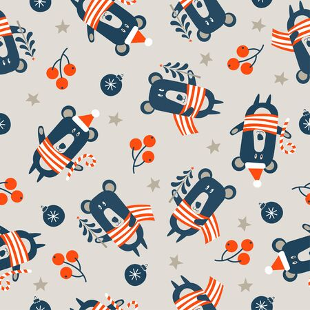 Seamless Christmas winter pattern on light background. Cute bear dressed in a warm striped scarf. Vector illustration for seamless printing on textiles, paper.