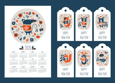 2020 calendar with the symbol of the year of the mouse. Set of tags with new year greetings and cute animals. Christmas squirrel, cat in sweater, bird, funny bear and funny deer. Vector illustration.  イラスト・ベクター素材